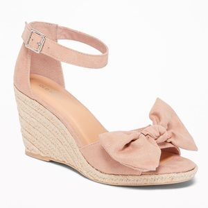 Old Navy Blush Pink Suede Bow Espadrille Wedge